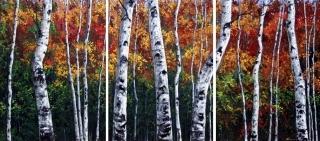 Aspen in Autumn  - Triptych